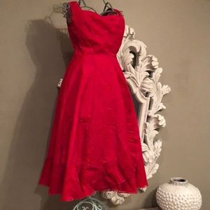 VINTAGE Red Taffeta Ruffled Gown from 1940-50's